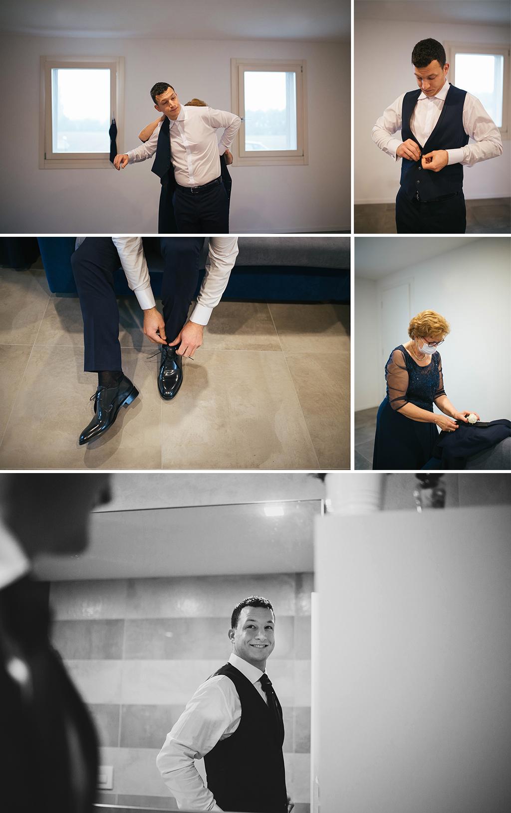 sposarsi nonostante il covide19 si può - matrimonio padova veneto martina e nicola villa liviangior villanova padovana fotografa treviso conegliano venezia - preparazione sposo